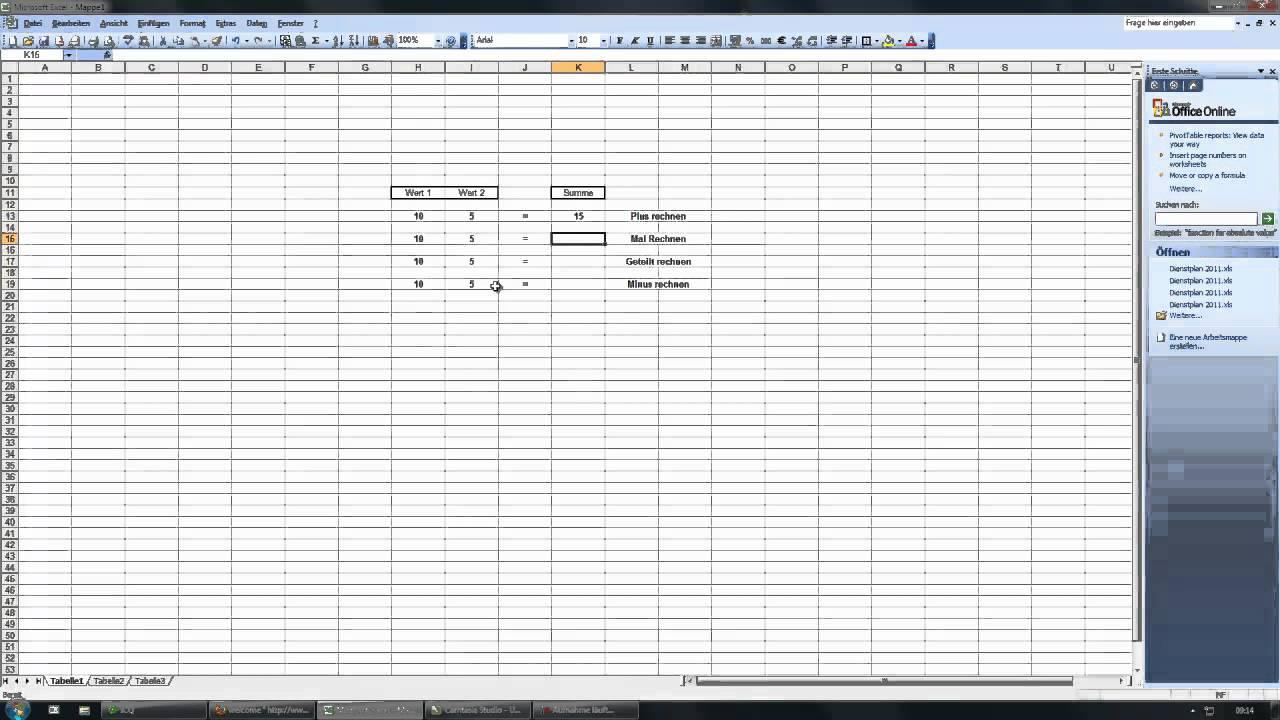 Minus Rechnen Excel