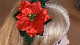 Пуансеттия на обруч и как украшение новогоднего праздничного стола