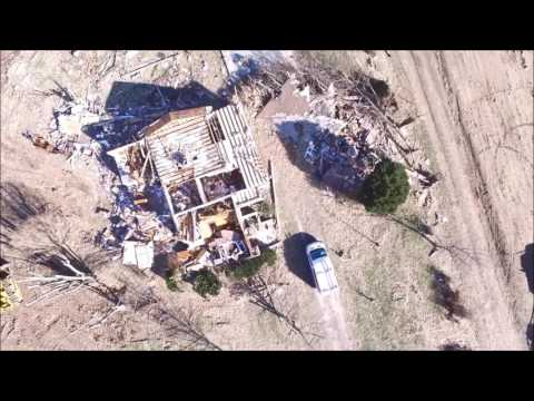 Aerial video of the Crossville, Illinois Tornado - February 28th, 2017