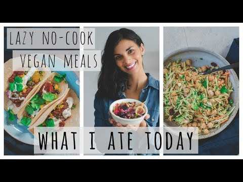 WHAT I ATE TODAY | lazy no-cook vegan meals | healthy + easy