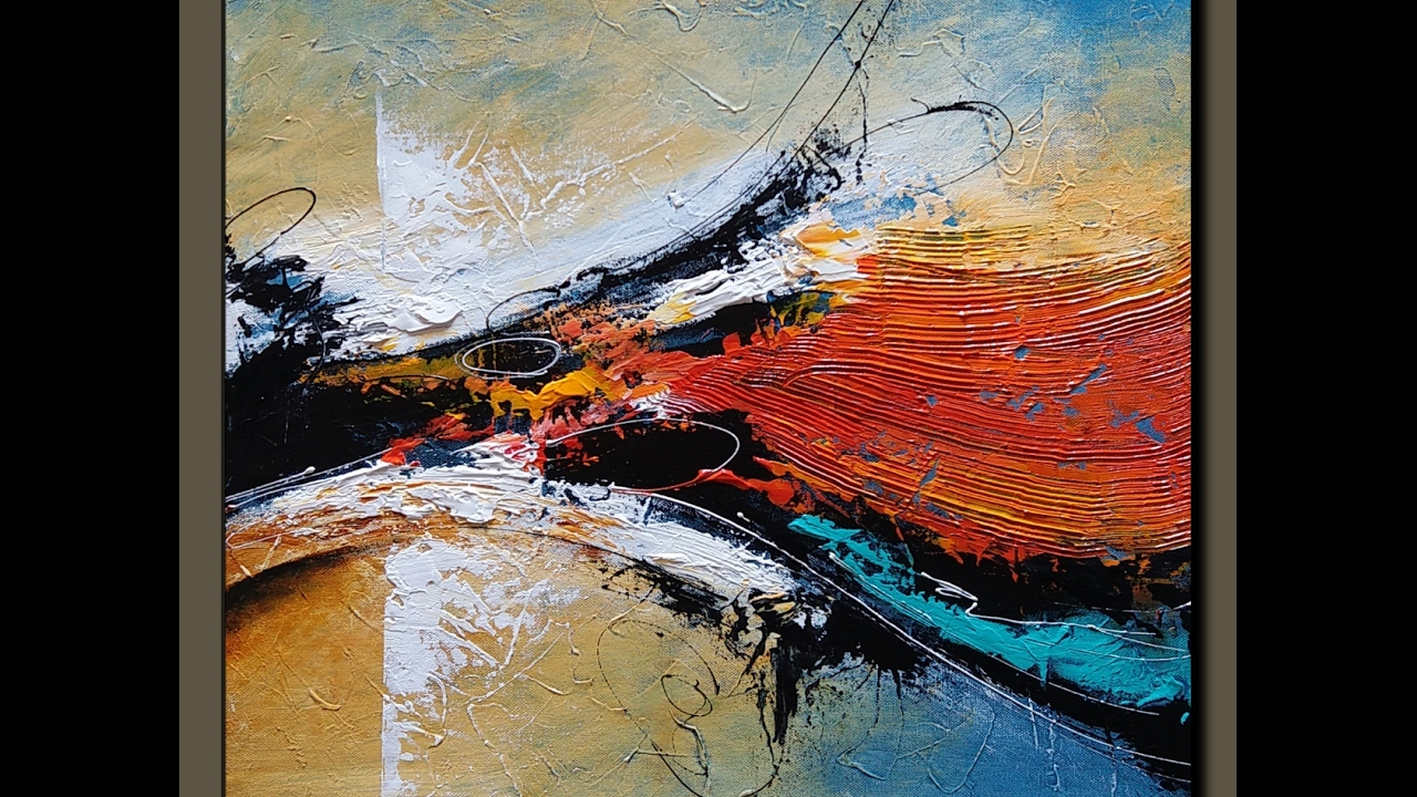Abstract acrylic painting demonstration textured for Textured acrylic abstract paintings