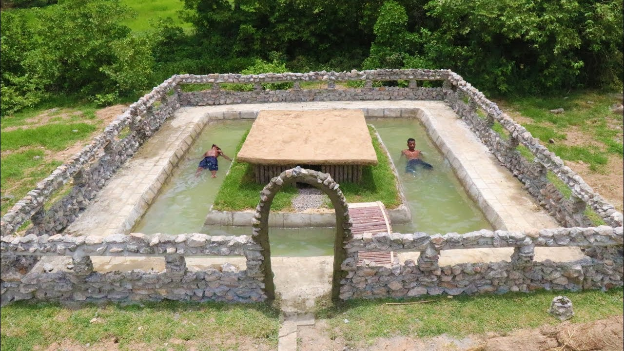 Build Stone​ Wall of Swimming Pool Around Underground House