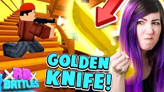 GET THE GOLDEN KNIFE AGAIN AND WIN THE ROBUX! (Roblox Battles)