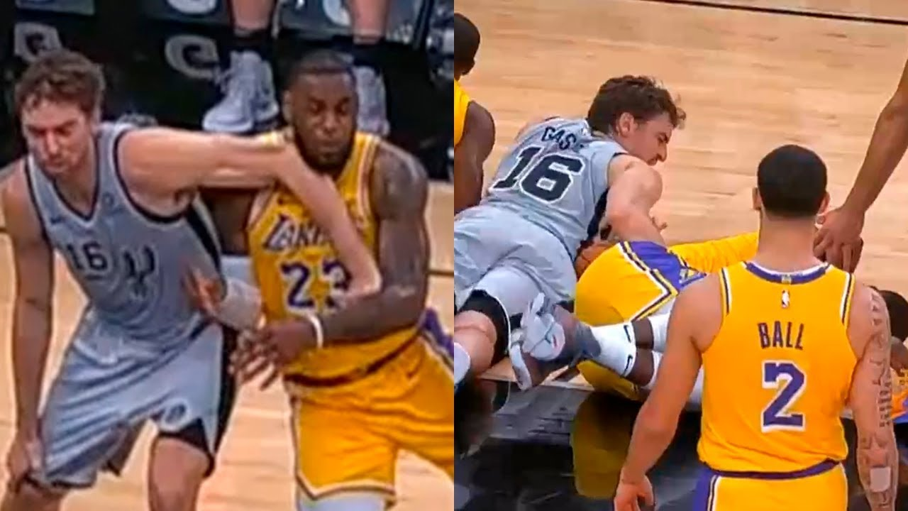 59ba94075 Pau Gasol knocks down LeBron James in the final seconds of the game ...