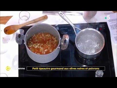 Coup d'food : Petit épeautre gourmand aux olives noires et poivrons
