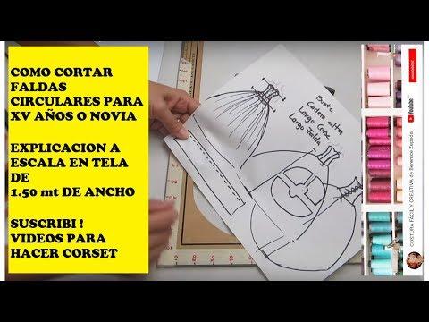 7ba5fbe6f VESTIDO 15 AÑOS  parte 3 COMO CORTAR FALDA CIRCULAR - YouTube