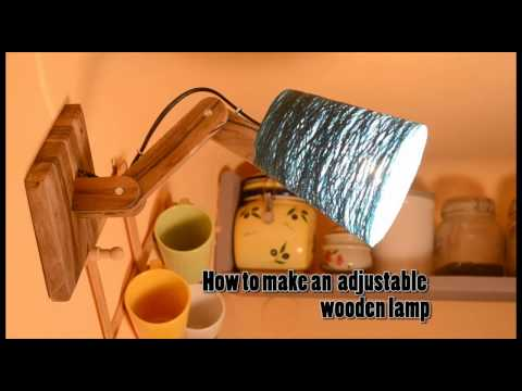 DIY How to make an adjustable wood lamp with a String lamp shade Home Tutorial