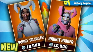 NEW FORTNITE SKINS! BUNNY BRAWLER & RABBIT RAIDER! (Fortnite Battle Royale EASTER skins Gameplay!)