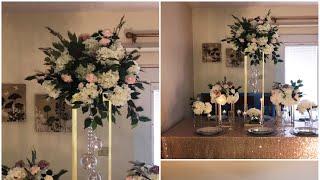 DIY- Wooden Dowel centerpiece DIY- tall centerpiece DIY- wedding decor