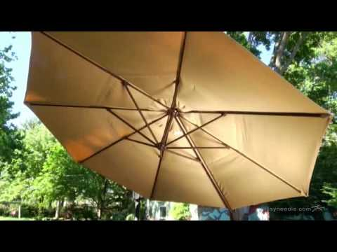 Treasure Garden 13 Ft. Rotating Offset Umbrella And Base With Tilt    Product Review Video