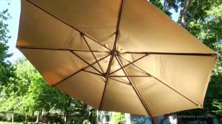Treasure Garden 13 ft. Rotating Offset Umbrella and Base with Tilt - Product Review Video