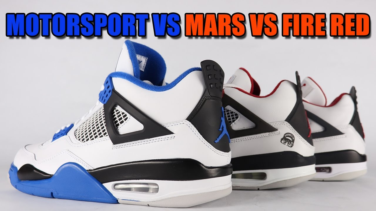 752d78ca5ce Motorsport vs Mars vs Fire Red vs Air Jordan 4 Comparison - YouTube