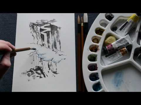 Waterfall - Chinese ink (and watercolour) painting
