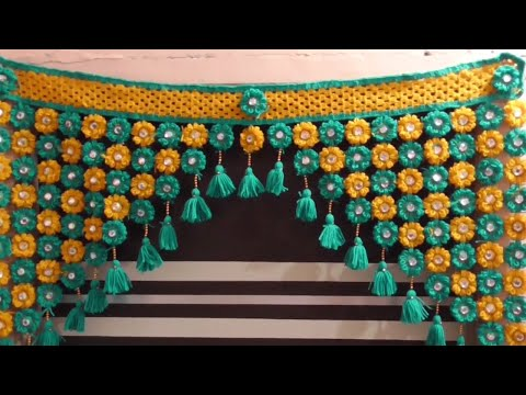 DIY - How to Make Toran for Door Hangings at Home || Woolen Flowers Toran Step by Step