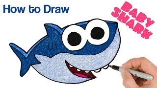 How to Draw Baby Shark   Cartoon Coloring and Drawing for Kids, Toddlers