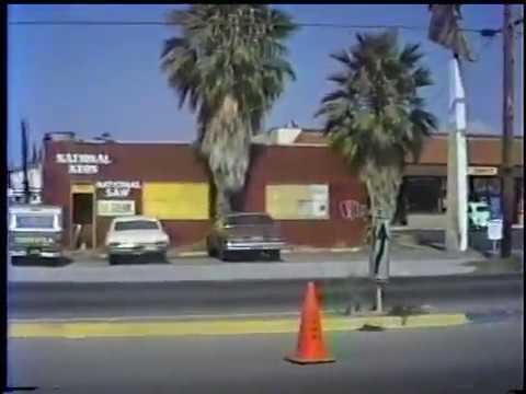 Drive through Chula Vista 1980s - Broadway and L Street car crash