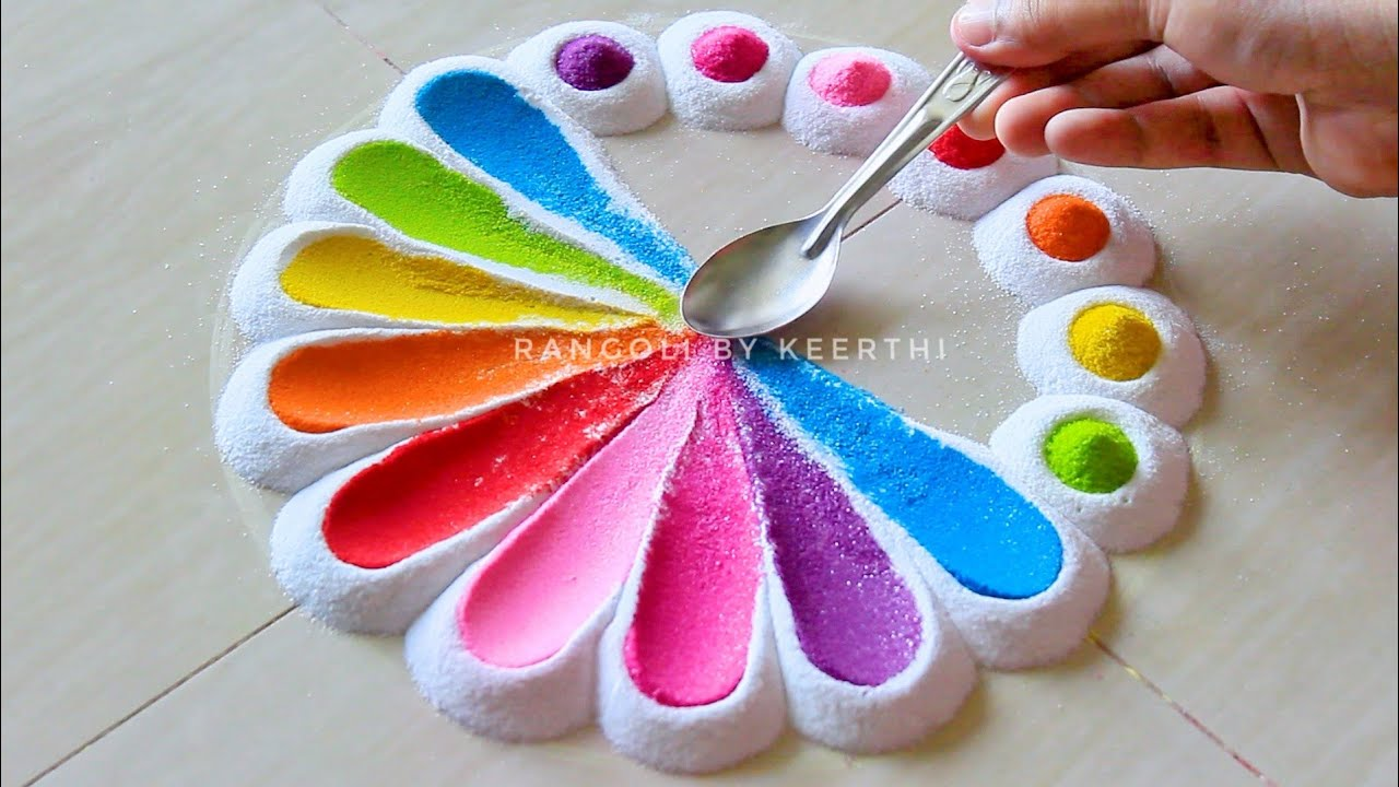 Simple rangoli designs with spoon l Maha shivratri rangoli l easy rangoli designs l रंगोली डिजाइन