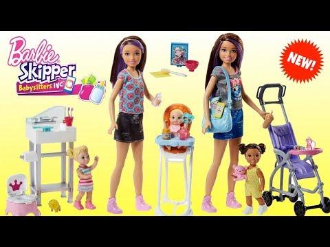 Barbie Niñera Skipper Babysitter Inc - Coche de Bebe, Pañalera, Trona y Cuna