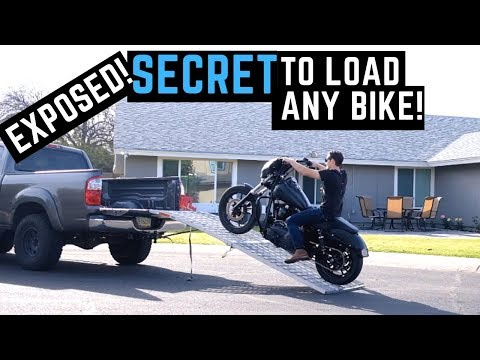 How To Load, Unload & Tie Down ANY Motorcycle in Pickup Truck Alone Harley Goldwing Yamaha Honda