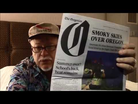 Reading paper ASMR, Oregonian,  gum, soft spoken