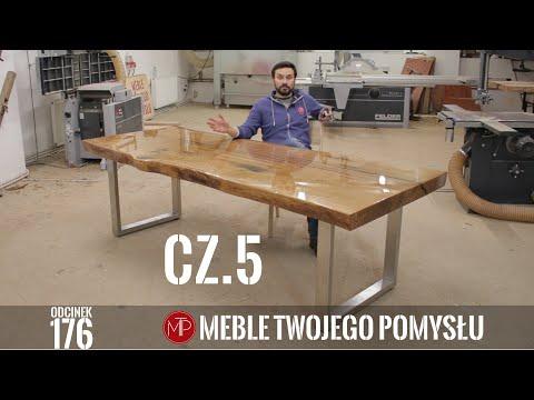 Cz 5 Monolit dębowy na blat stołu - lakierowanie ostatniej warstwy, montaż nóg i polerka / epoxy