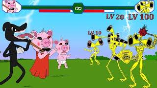 Team Army Siren Head Level Up Vs Piggy, Cartoon Cat #2  Roblox Piggy Animation | GV Studio