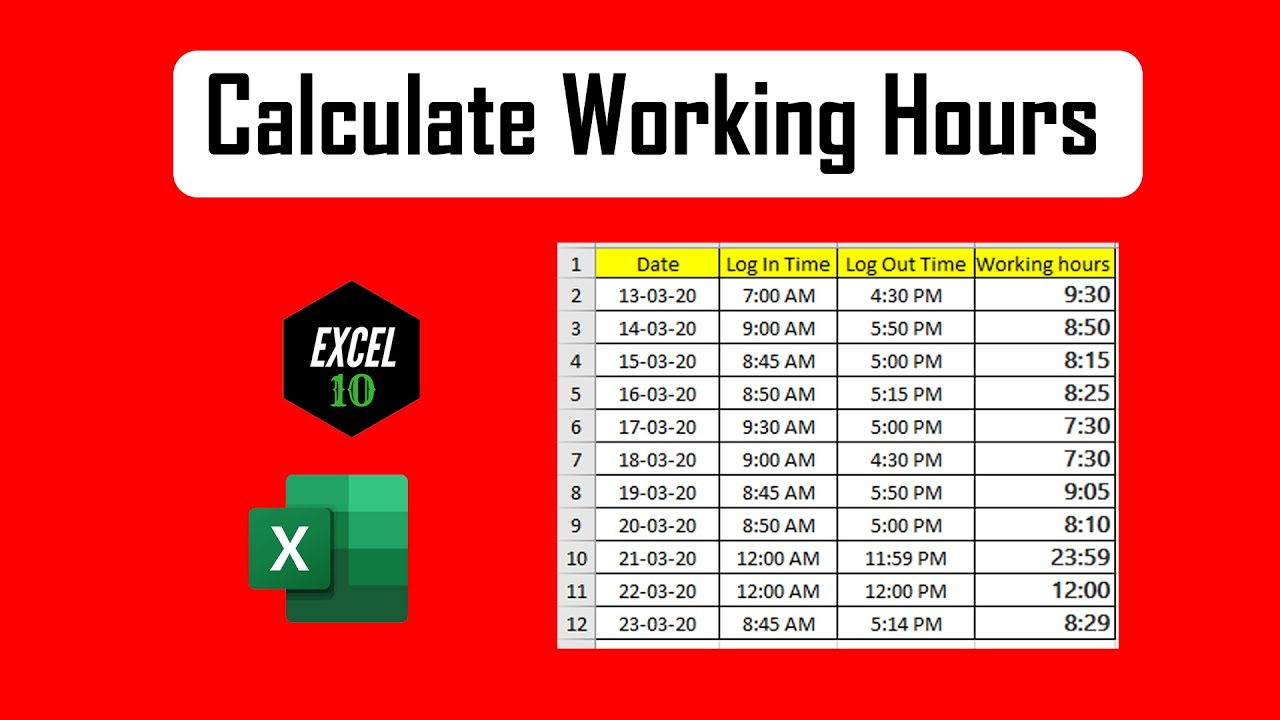 How To Calculate Total Work Hours Minus Lunch Time In Excel Youtube
