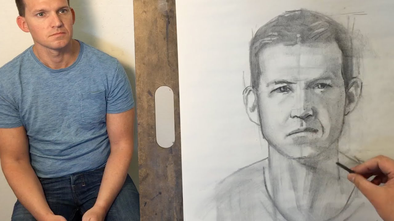 Portrait drawing of eric with vine charcoal