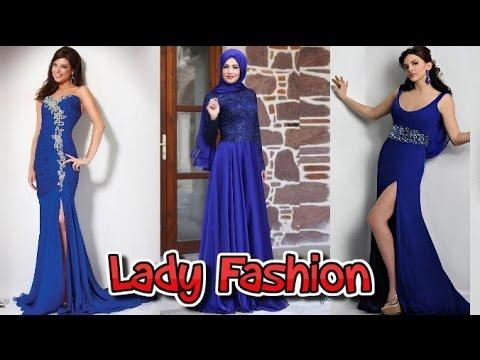 ae5bd3424 فساتين خطوبة 2018 باللون الازرق - فساتين سهرة جديدة للمناسبات - Blue Dresses  - ليدي فاشون