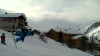 15 year old doing backflip on a snowboard at val d isere