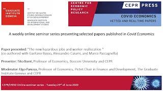 "Cepr/iheid Online Seminar Series, 23/06 Tito Boeri Presents ""mitigating The Work-safety Trade-off""."