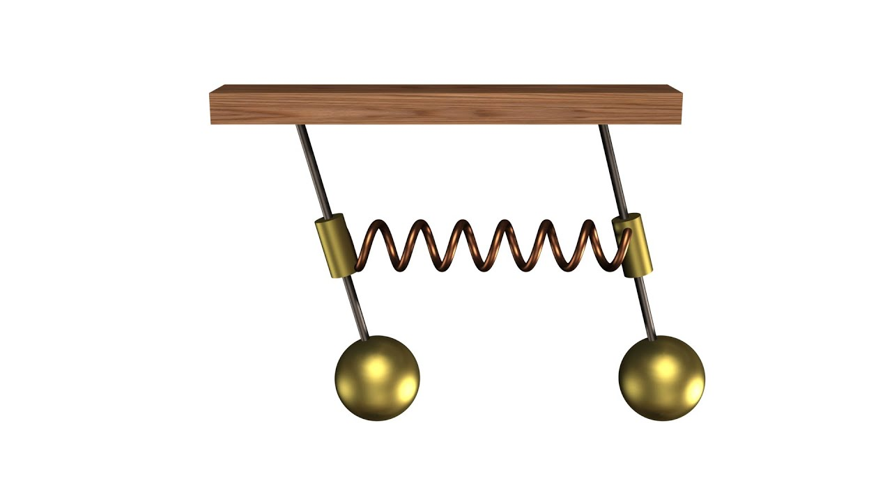 342 - Coupled spring oscillators  Second normal mode of oscillation