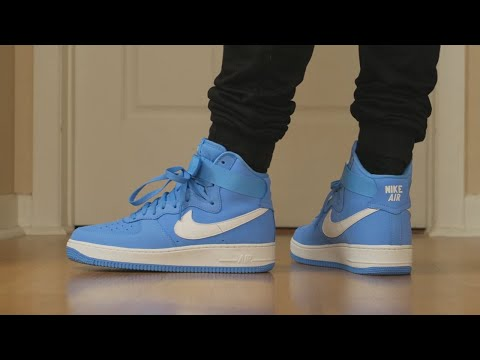reputable site a3e78 c179e NIKE AIR FORCE 1 HIGH RETRO - UNC BABY BLUE ON-FEET - SNEAKER TALK - YouTube