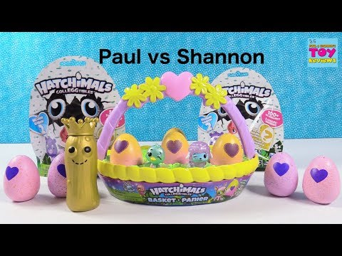 Paul vs Shannon Hatchimals Colleggtibles Easter Basket Challenge Edition Toy Review | PSToyReviews