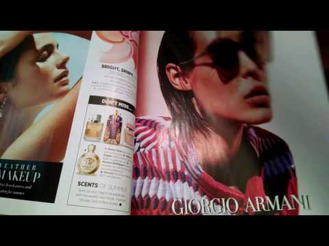 ASMR Magazine Flip Harper's Bazaar (whispering and gum chewing)