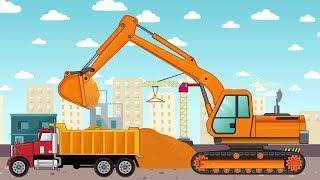 Koparki i Ciężarówki Pojazdy na Budowie | Construction vehicles Animated series for kids