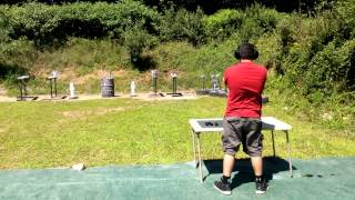 Live Large Jr, at Wallum lake,  RI. shooting plates for the first time with 92fs beretta 2