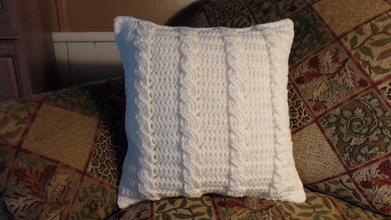 Crochet Cable Stitch : CROCHET How to #Crochet Cable Stitch Throw Accent Pillow #TUTORIAL ...