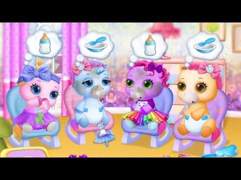4 Маленькие Пони Сестренки и Радужный Единорог/Игра Мультик: Ухаживаем за малышами My Little Pony