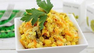 Салат с кукурузой и грибами — видео рецепт