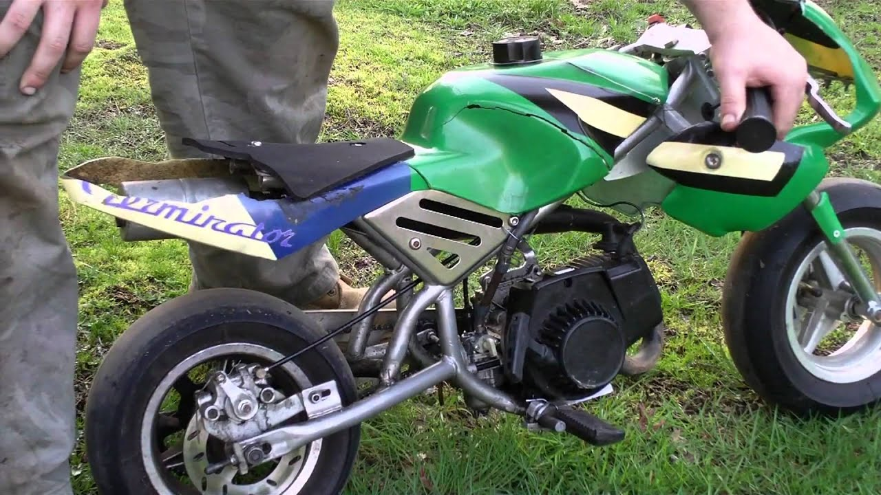 47 CC 2-Stroke Cagllari Pocket Bike Cold / Old Start - YouTube