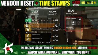 The Division Weekly Vendor Reset #139  DEC 1st 2018 + TIME STAMPS - A few good mods