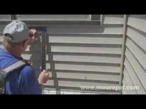 Maxseal pet door wall installation step 6 cutting - Exterior door with pet door installed ...