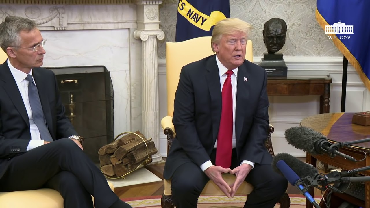 Hasil gambar untuk President Trump Participates in an Expanded Bilateral Meeting with the Secretary General of NATO