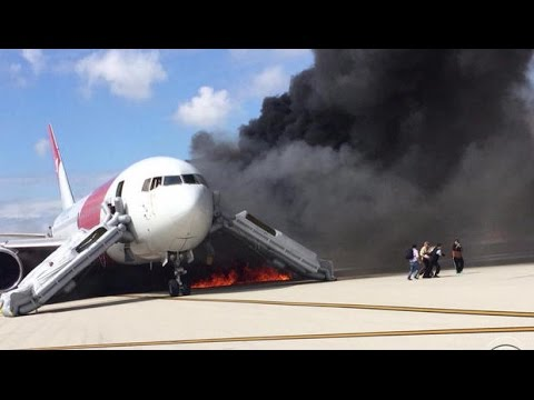Plane catches fire on takeoff at Florida airport : Passengers Frantically Flee Jetliner on Fire