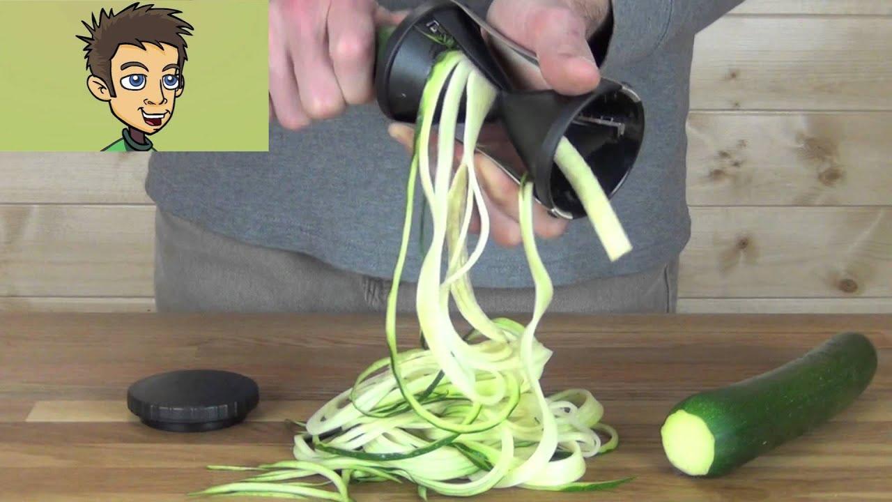 Wonderful Gefu Spirelli Handheld Spiral Slicer Demonstration In The Raw Nutrition  Kitchen   YouTube