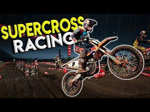 SUPERCROSS RACING & CRASHING! - Monster Energy Supercross Gameplay - Dirt Bike Game