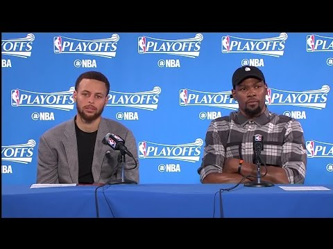Raw Video: Stephen Curry, Kevin Durant Share Podium Following Game 1 Win