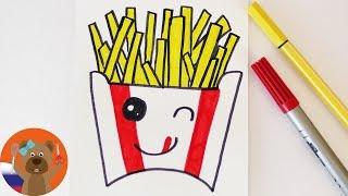 Урок рисования для детей | Рисуем Картофель фри в японском стиле Кавай
