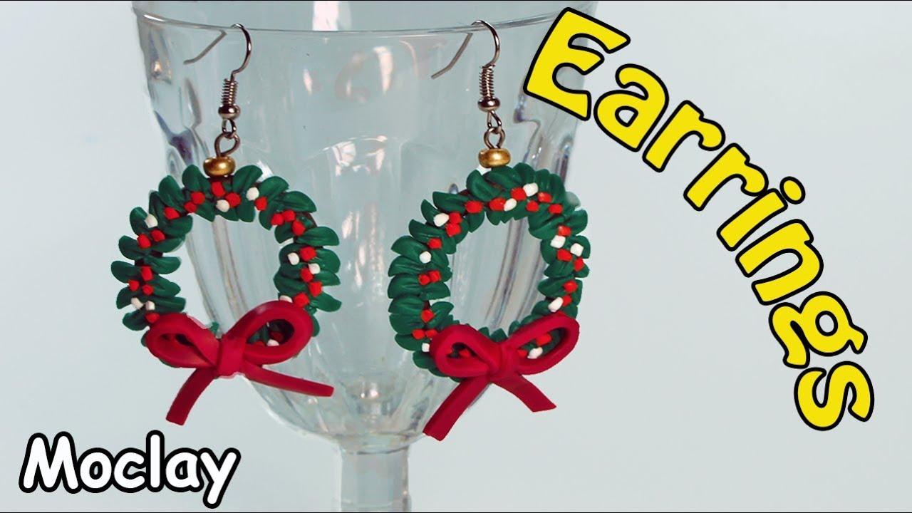 Polymer Clay Christmas Jewelry.Diy Christmas Wreaths Earrings Polymer Clay Tutorial